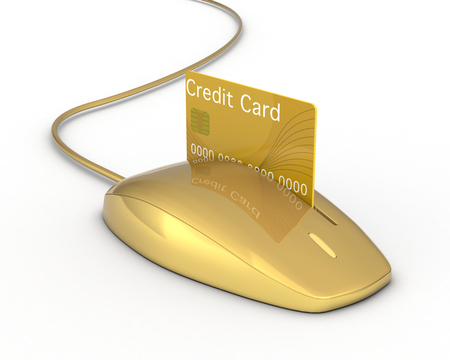 one mouse with a slot and a credit card, concept of online payment (3d render) photo