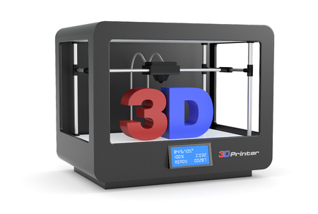closeup of a black 3d printer (render) Stock Photo