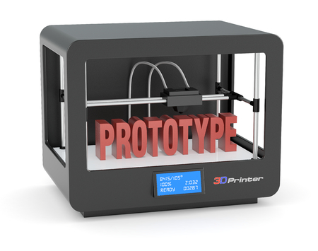 rapid prototyping: one 3d printer with the text: prototype (render)