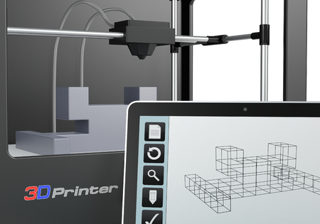 rapid prototyping: one 3d printer with a tablet pc and a cad software (render)