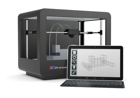 3d dimensional: one 3d printer with a computer and a cad software (render)