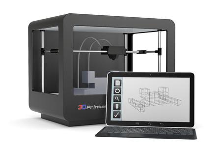 impresora: una impresora 3D con un ordenador y un software de CAD (render) Foto de archivo