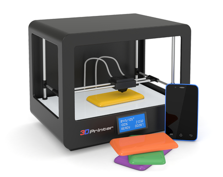 rapid prototyping: one 3d printer with a smartphone and some colored covers (render) Stock Photo