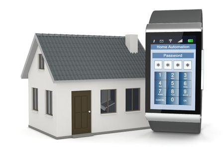 one smartwatch with an home automation app and a small house (3d render) photo