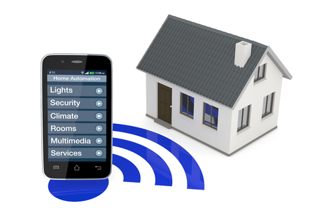 smart: een smartphone met een automatiseringssysteem huis app en een klein huis (3d render)