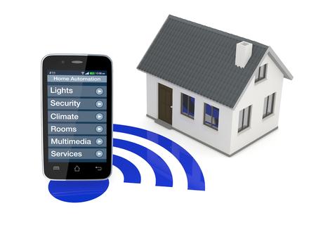 sistemas: un smartphone con una aplicaci�n para la automatizaci�n del hogar y una peque�a casa (3d) Foto de archivo