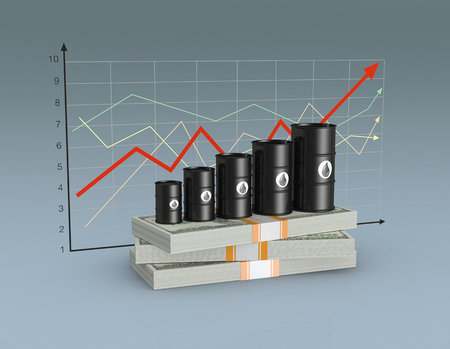 stacks of banknotes with a row of oil barrels and a financial chart on background (3d render) Imagens