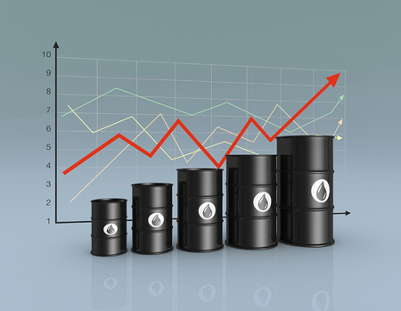 one row of oil barrels and a financial chart on background (3d render) photo