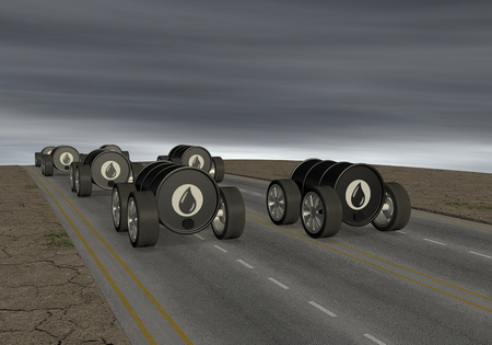 polluting: oil barrels like cars on a road and a dark sky, concept of polluting energy (3d render) Stock Photo