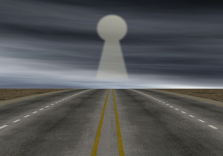 one road with a keyhole on background, concept of solution (3d render) photo