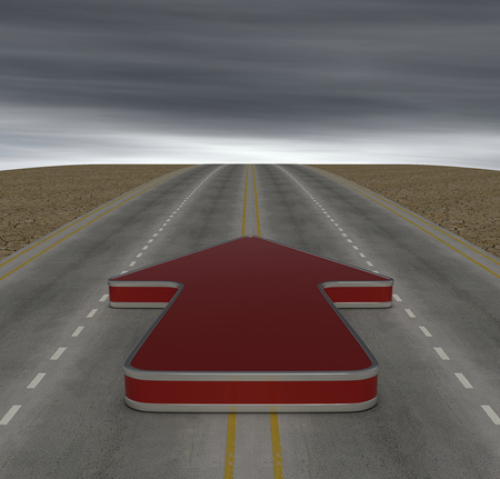 one road with a red arrow, concept of solution (3d render) photo