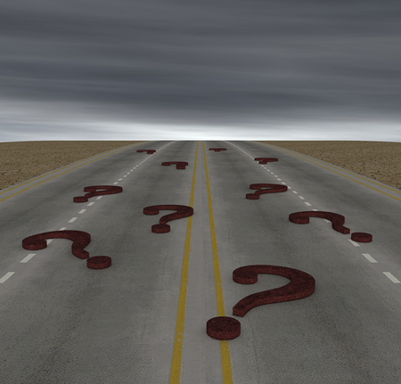 one road with some question marks, concept of doubt or risk (3d render) photo