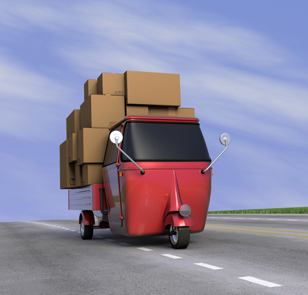 one small truck that carries a lot of carton boxes on a sunny road, concept of transportation with a bit of humor (3d render) photo