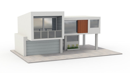house render: one model of a modern house (3d render)