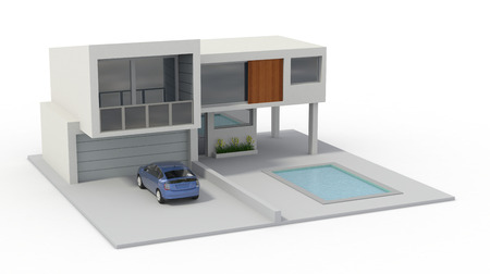 one model of a modern house (3d render) photo