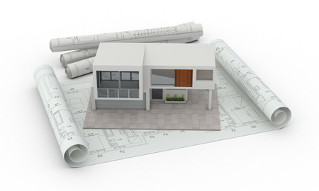 one model of a modern house with blueprints, concept of house planning (3d render) photo