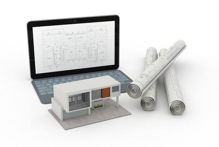 현대 집의 한 모델은 CAD 소프트웨어와 일부 압연 건설 사업, 주택 계획의 개념과 컴퓨터 (3d 렌더링) 스톡 콘텐츠