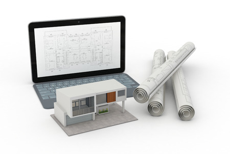 one model of a modern house, a computer with a cad software and some rolled construction projects, concept of house planning (3d render) photo