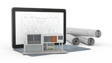 cad drawing: one model of a modern house, a computer with a cad software and some rolled construction projects, concept of house planning (3d render)