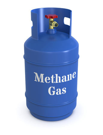 close up of a blue methane gas cylinder (3d render)