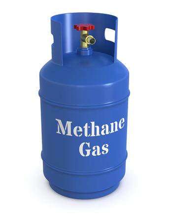 gas cylinder: primer plano de una botella de gas metano azul (3d)
