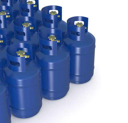 gas cylinder: closeup of a group of methane gas cylinders (3d render)