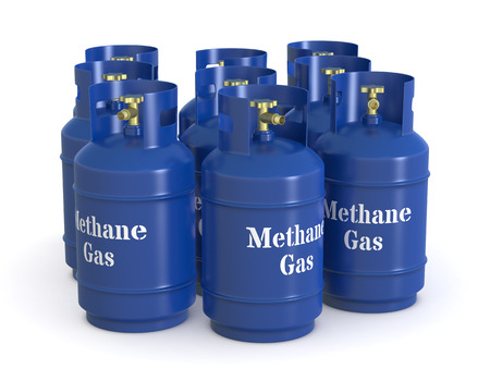 one group of methane gas cylinders (3d render) Stock Photo - 26368973