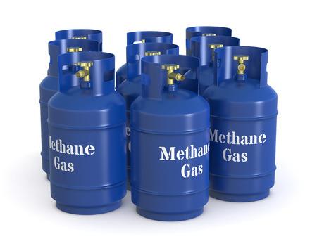 methane: one group of methane gas cylinders (3d render)