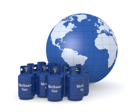 methane: one group of methane gas cylinders with a world globe Stock Photo