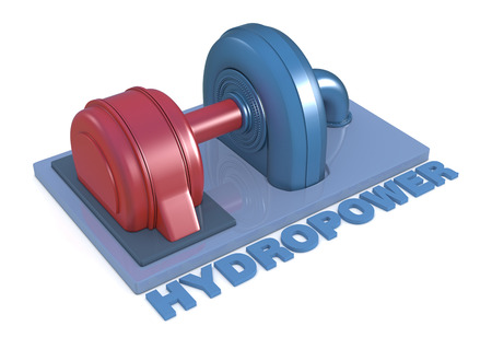 hydroelectric: top view of a model of a hydroelectric power plant (3d render)