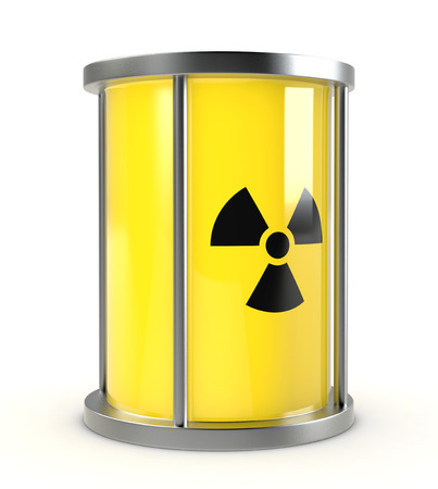 one protective capsule for  a radioactive source, concept of nuclear energy (3d render) Stock Photo - 26369119