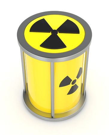 one protective capsule for  a radioactive source, concept of nuclear energy (3d render) photo