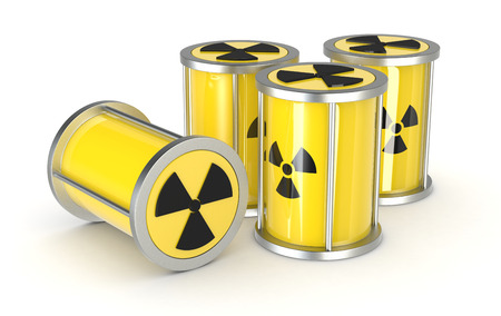 a group of protective capsules for  a radioactive source, concept of nuclear energy (3d render)