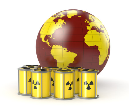 a group of protective capsules for  a radioactive source with a world globe Stock Photo - 26369124