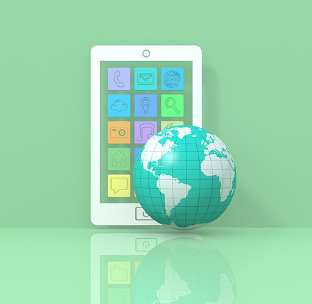courtesy: one stylized smartphone with apps icons and a world globe; earth map courtesy of nava.gov (3d render)