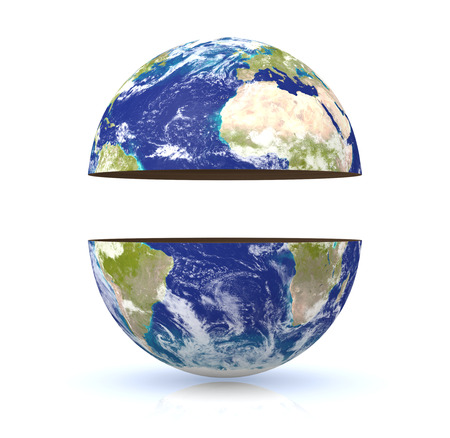 divided: earth globe divided into two parts with empty space in the middle for custom text