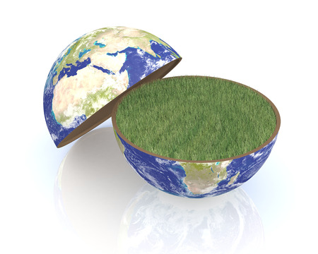 divided: one earth globe divided into two parts, with a lawn, concept of environmental conservation