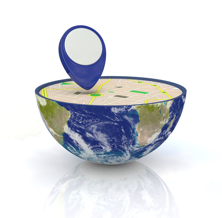 one earth globe divided into two parts, with a gps map and pin photo
