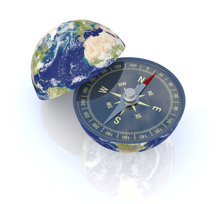 one earth globe divided into two parts, with a compass photo