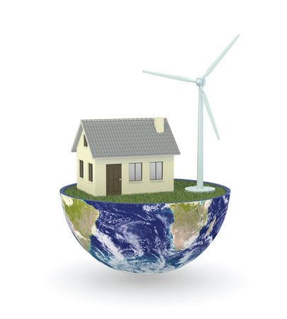 half of an earth globe with a house and an eolic plant, concept of renewable photo