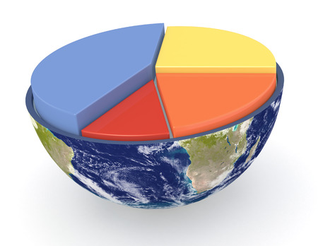 half of an earth globe with a pie chart photo