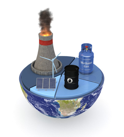 half of an earth globe with a pie chart and various energy sources symbols