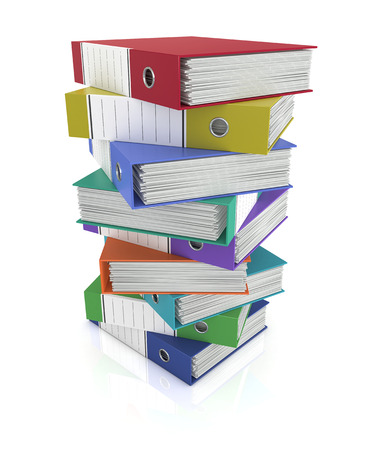 one stack of coloured office binders (3d render) photo