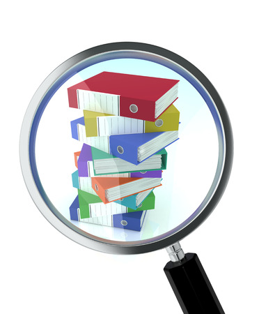 one magnifying glass with a pile of office binders, concept of document search (3d render) photo