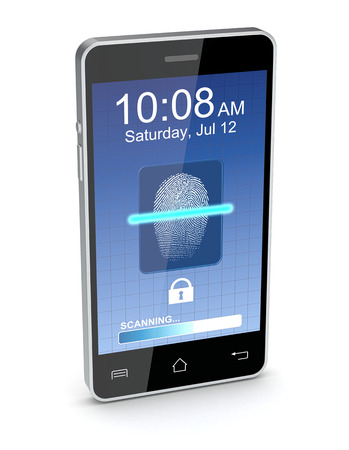 one smartphone that scans a fingerprint (3d render) photo