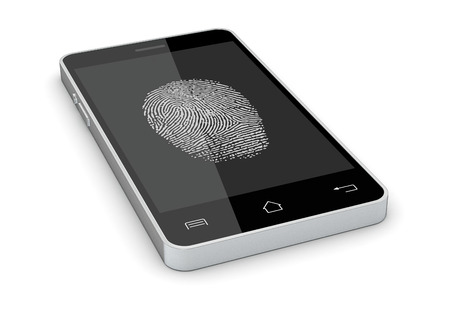 one smartphone with a fingerprint on the screen, concept of privacy and safety (3d render) photo