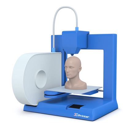 closeup of a small 3d printer that builds a human head (3d render)