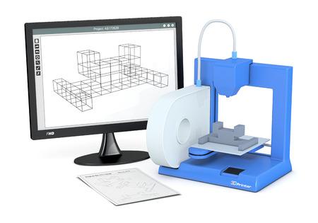 スケッチ ドキュメントと cam ソフトウェアとコンピューターのモニターと 1 つの 3 d プリンター (3 d レンダリング) 写真素材