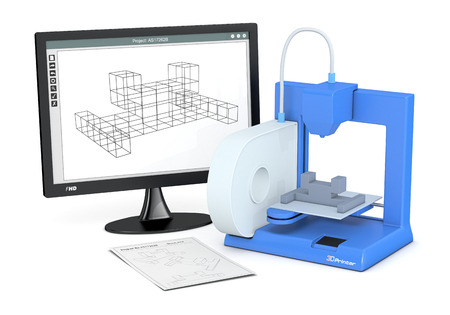 een 3D-printer met een schets document en een computer monitor met een CAM-software (3d render) Stockfoto