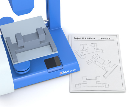 additive manufacturing: closeup of a 3d printer with a sketch document and a prototype (3d render) Stock Photo